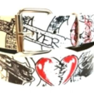 Rock Rebel Red Snap on Never Again Tattoo Belt